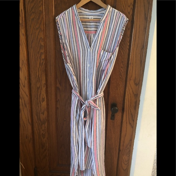 GAP Dresses & Skirts - Midi length shirt dress, cute stripe pattern